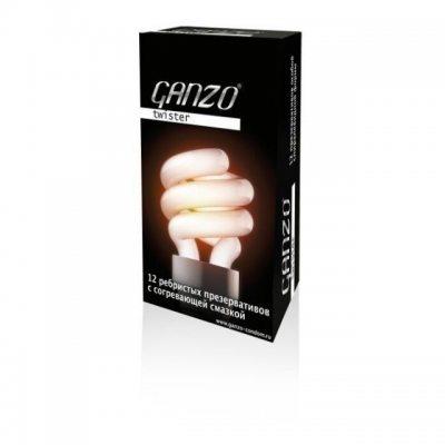 Презервативы Ganzo Twister ребристые с согревающей смазкой 12 шт