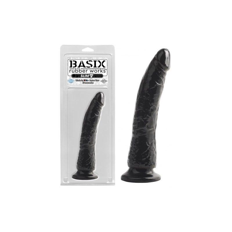 Фаллоимитатор с мошонкой на присоске Basix Rubber Works 9 Black